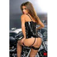 Agnes corset vinyle obsessive noir bustiers et corsets