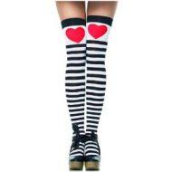 Bas amour de rayures leg avenue blanc rouge noir bas