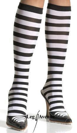 bas collants chaussettes acrylique squelette noir blanc leg avenue taille unique