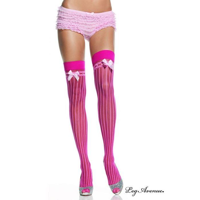 bas costumes leg avenue rose pale rose fluo bas