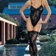Body floral echancre leg avenue noir bodys