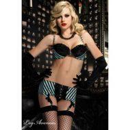 Burlesque 3 pieces moi je leg avenue noir bleu burlesque