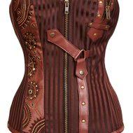 Bustier jarretelles style cuir avec fermeture eclair