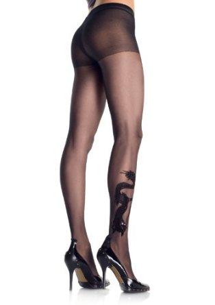 collant imprime dragon leg avenue noir collants