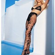 Collant jacquard fleurs leg avenue noir collants
