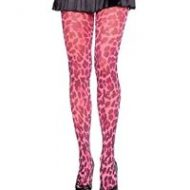 Collant leopard flashy leg avenue rose fluo collants