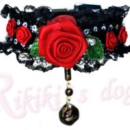 Collier sexy noir avec rose rouge