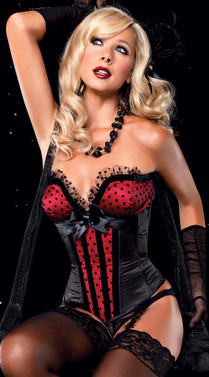 corset a pois et dentelle blanche