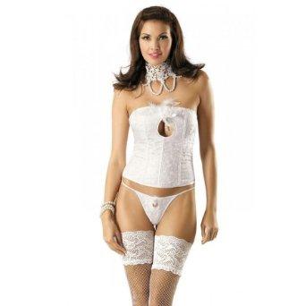 corset brocard avec tour de cou dentelle de venise