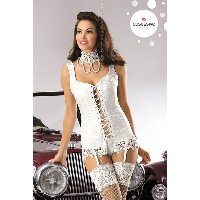 corset jarretelles dentelle de venise et tour de cou