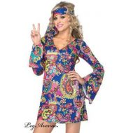 Costume 2 pieces hippie leg avenue multicolore mode retro