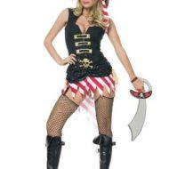 Costume 2 pieces pirate leg avenue noir rouge pirate