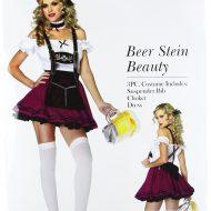 Costume 3 pieces serveuse danoise leg avenue bordeaux noir serveuse sexy