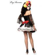 Costume 4 pieces sublime calaveras leg avenue ml i halloween noir rouge blanc