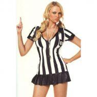 Costume arbitre feminin leg avenue noir blanc sports