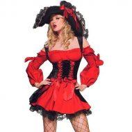 Costume pirate sanguinaire leg avenue noir rouge costumes grandes tailles