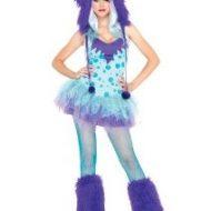 Costumes costume 2 pieces monstre farfellu a pois turquoise mauve leg avenue xs