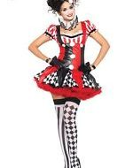 Costumes costume 3 pieces clown arlequin noir rouge leg avenue small