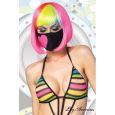 Costumes masque avec coeur noir rose fluo leg avenue