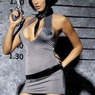 Costumes police corset noir gris obsessive sm