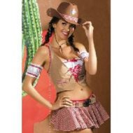 Cowgirl costume obsessive marron blanc far west