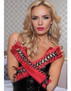 gants luxe mitaine longues satin avec lacets