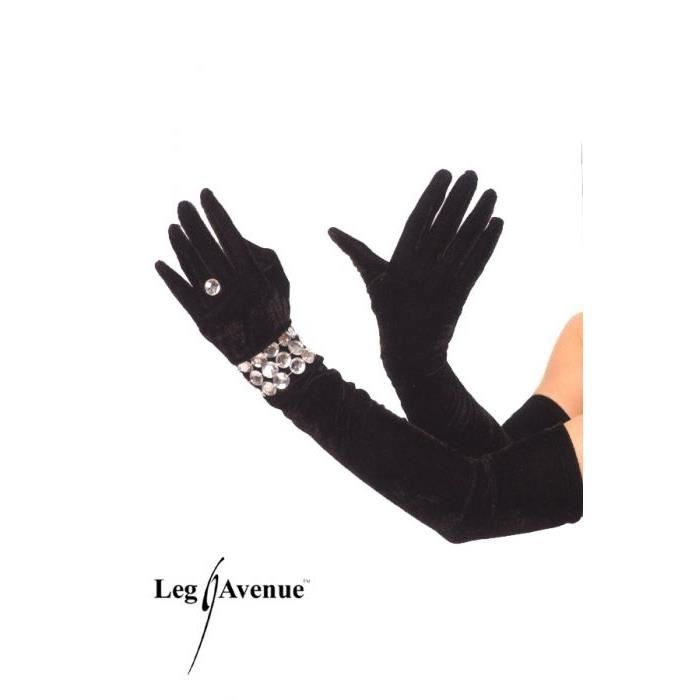 gants velours bracelet leg avenue noir gants et mitaines