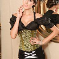 Glamour corset serre taille beauty night noir bleu bustiers et corsets