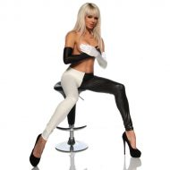 Legging brillant black and white