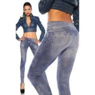 Legging effet jean use deco rivets