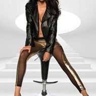 Legging metallique brillance et transparence