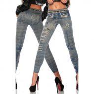 Legging style jean effet accros et ceinture