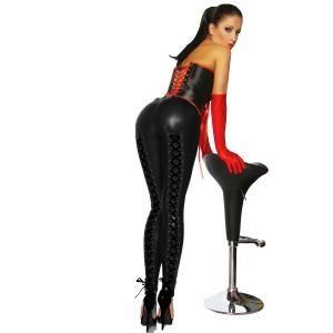 legging wetlook arriere lace facon corset