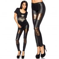 Legging wetlook avec bandes leopard