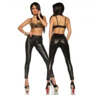 Legging wetlook avec rivets dores