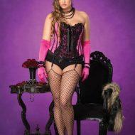 Lingerie corset giselle gt noir fuschia leg avenue 1x 2x