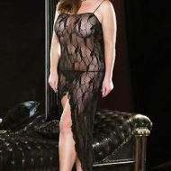 Lingerie deshabille robe longue papillons de nuit gt noir leg avenue plus size