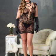 Lingerie robe ajouree gt noir leg avenue plus size