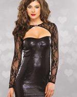 Lingerie robe lingerie florale manches longues gt noir leg avenue plus size
