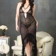 Lingerie robe longue crochet gt noir leg avenue plus size