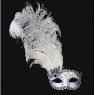 Loup venitien blanc a plume deco argentee