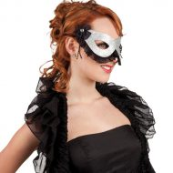Masque de venise rigide argente
