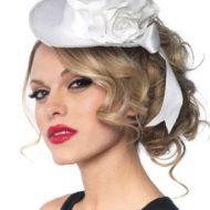 Mini haut de forme ma rose leg avenue blanc chapeaux
