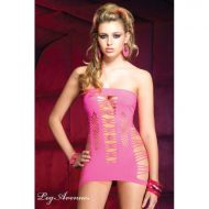 Mini robe ajouree blacklight leg avenue rose fluo robes lingerie courtes