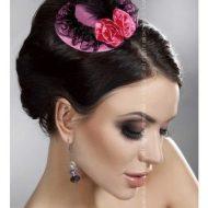 Mini top hat modele 9 livco rose noir chapeaux
