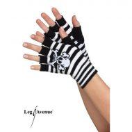 Mitaines courtes tete de mort leg avenue noir mauve gants et mitaines