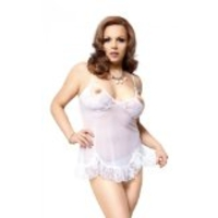nuisette sexy grande taille sable blanc