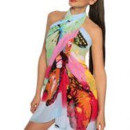 Pareo multicolors effet mousseline de soie