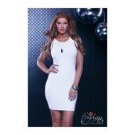 Robe courte vaneto avec voile virgule forplay forplay large robes courtes blanc
