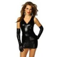 Robe courte wetlook decollete v
